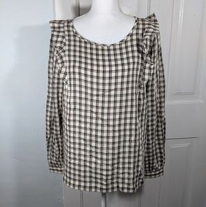 LOFT Ann Taylor Ruffle Detail Plaid Blouse Medium